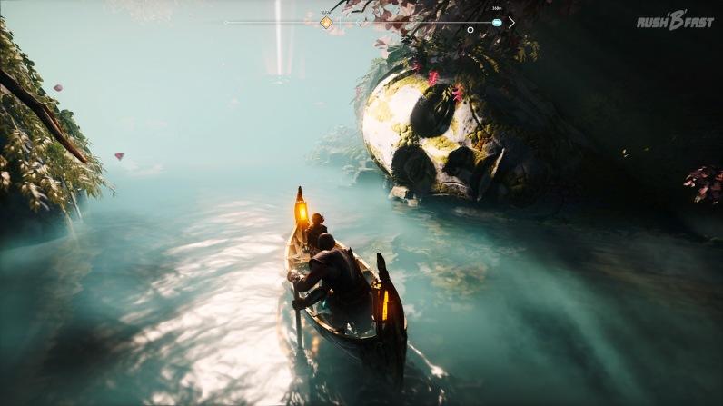 God of War (2018): Mit dem Boot durch das Tal der Lichtalben.