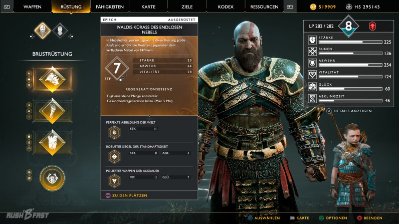 God of War (2018): Kratos trägt das Ivaldis Set.