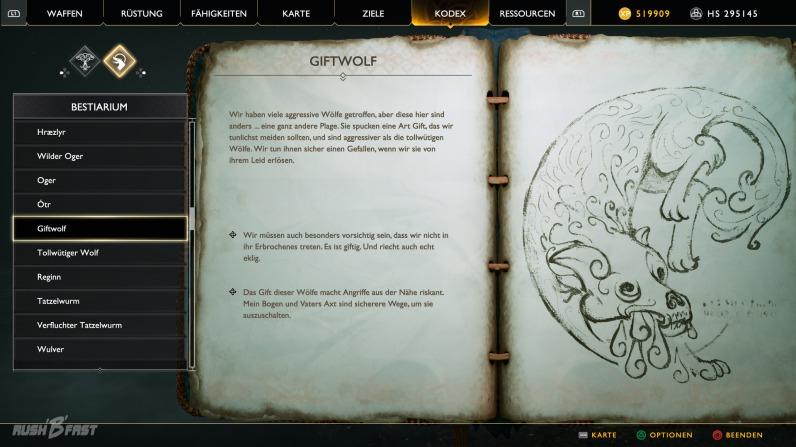 Der Kodex ist das Tagebuch von Atreus und beinhaltet viele hilfreiche Informationen zur Spielwelt.