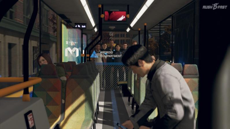 Androiden müssen im Bus klar von den Menschen getrennt werden.