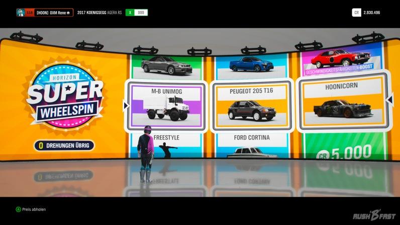 Forza Horizon 4 - Belohnung - Super Wheelspin