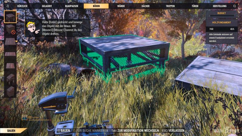 Fallout 76 - C.A.M.P - Fundamentbau (Bodenplatte)