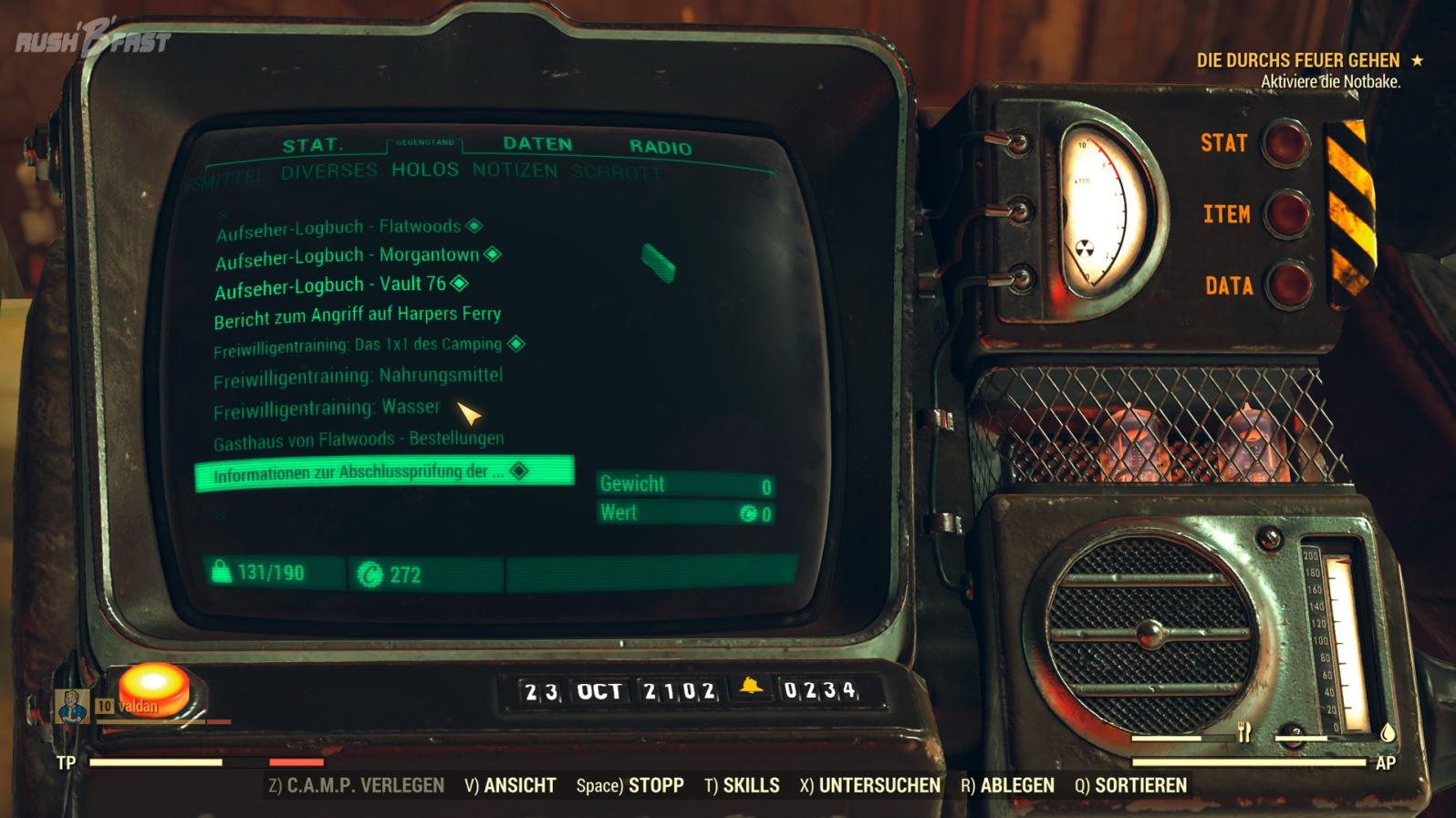 Fallout 76 - Pip-Boy - Holonachrichten