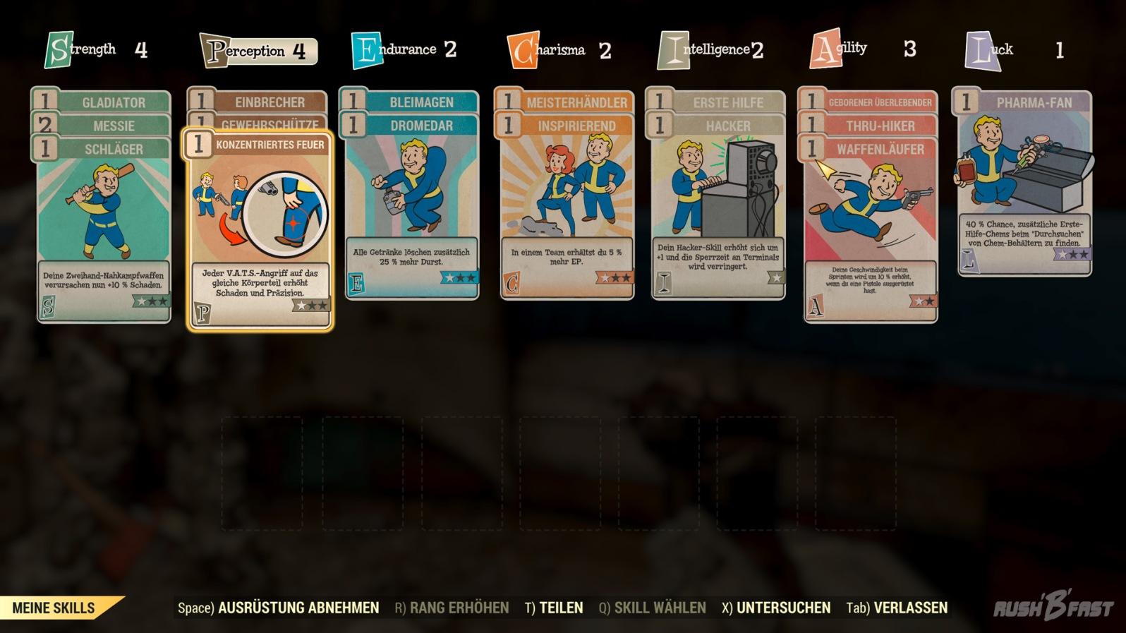 Fallout 76 - Meine Skills - Skillsystem mit Karten (Teilweise noch auf Englisch)