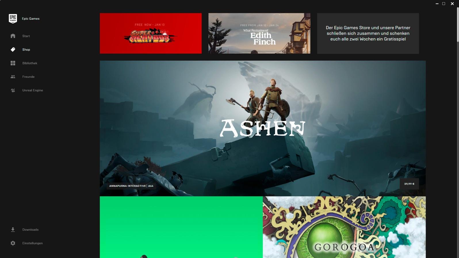 Quelle: Epic Games Store - Gratis-Spiele im Monat Januar (Super Meat Boy & What Remains of Edith Finch)