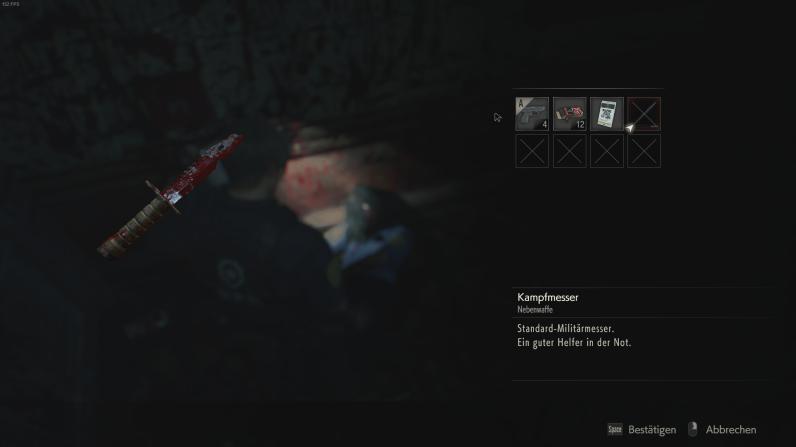 Resident Evil 2 - Nach erfolgreichem Nahkampf, Messer aus Leiche gezogen.