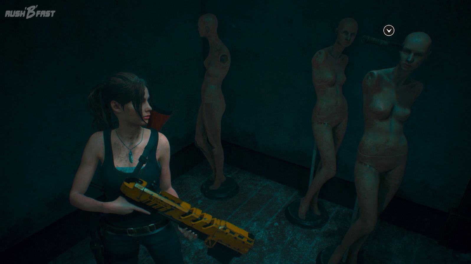 Resident Evil 2 (2019) - Drei Schaufensterpuppen aus Resident Evil 7 im Lagerraum.