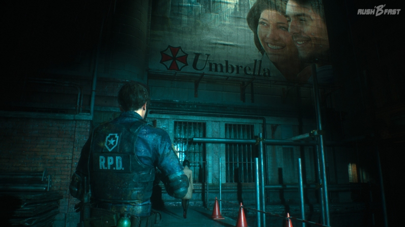 Resident Evil 2 - Umbrella ist in Raccoon City allgegenwärtig, sogar bei dem nächtlichen Spaziergang von Leon und Ada.