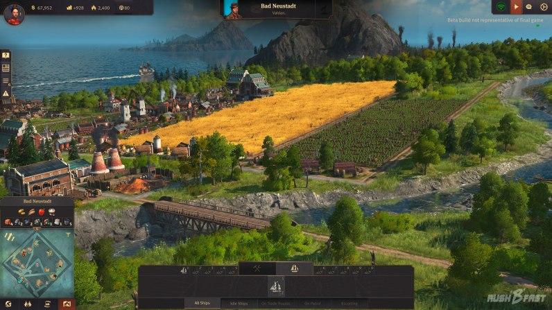 Anno 1800 - Closed Beta - Bei Koop-Spieler Valdan geht's mit der Landwirtschaft bergauf.