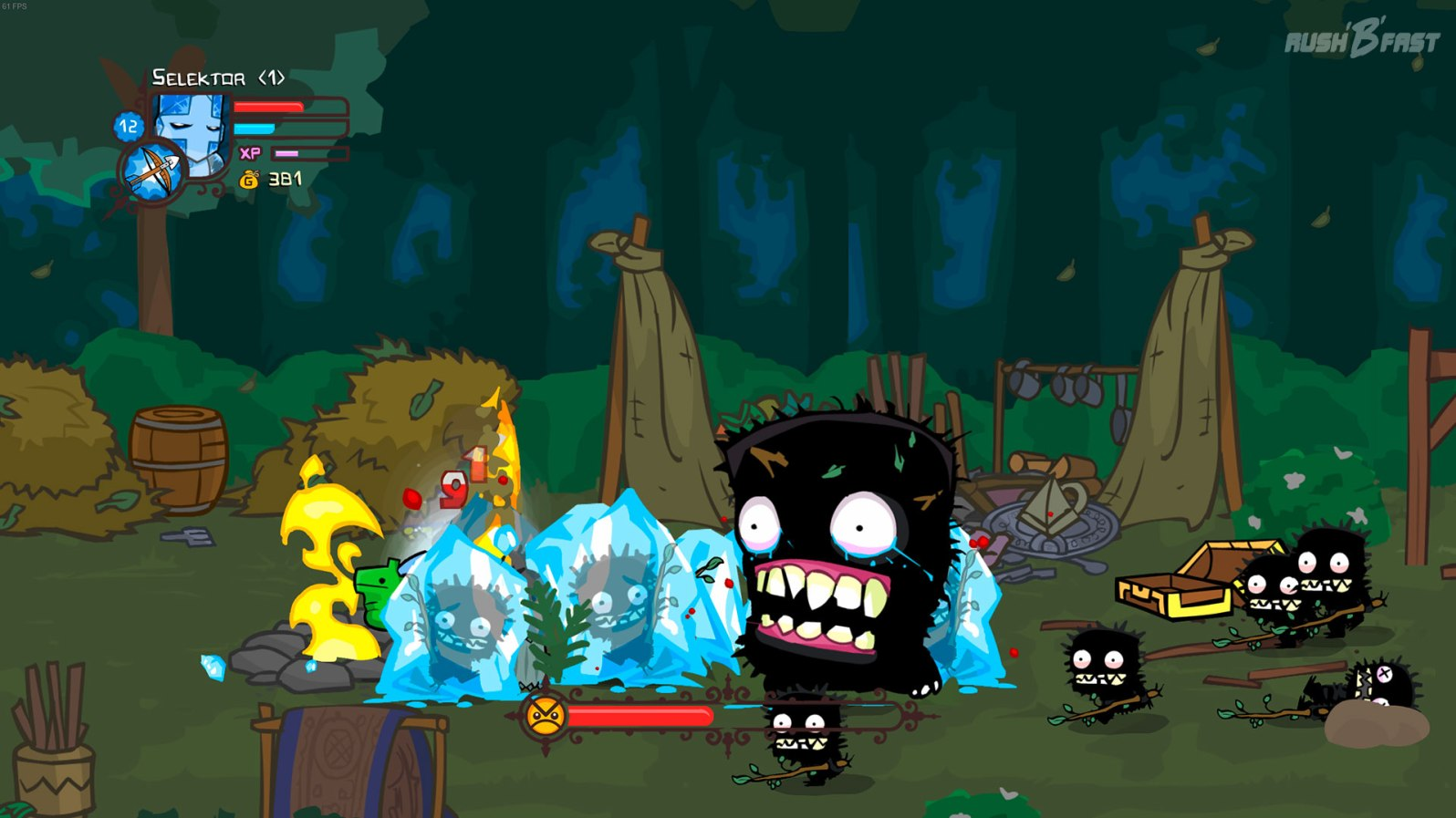 Castle Crashers - Extremer Wuselfaktor im Bossfight! Mit der Frostmagie des blauen Ritter bringen wir etwas Ruhe in den Kampf.