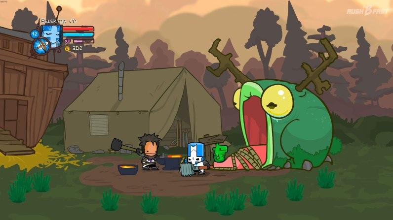 Castle Crashers - Wir besuchen den Schmied und schauen im Frosch nach unseren besten Waffen.