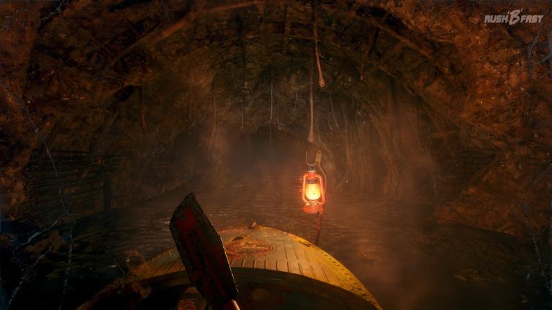 Metro Exodus - Mit dem Ruderboot paddeln wir durch die überfluteten und mit Wucherungen übersäten Metrotunnel.