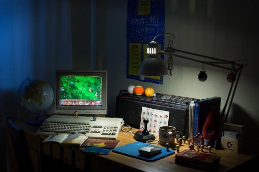 Quelle: podstawczynski.com - Commodore Amiga 500, Commodore Amiga 1081 monitor, The Arcade joystick, Hitachi boombox