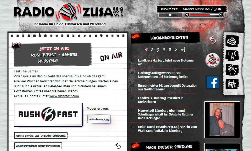 rush'B'fast Gamers Lifestyle: Die Live Radioshow auf Radio ZuSa mit Jean-Reiner Jung.