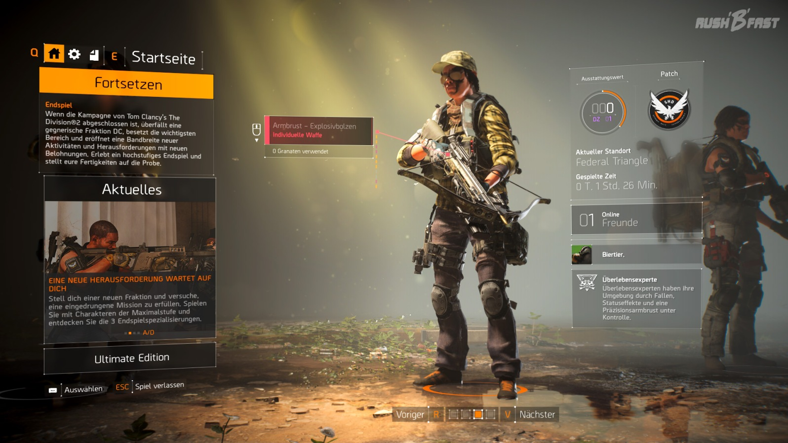 Tom Clancy's The Division 2 (CB) - Endgame-Charakter mit Highend-Armbrust als Spezialwaffe.