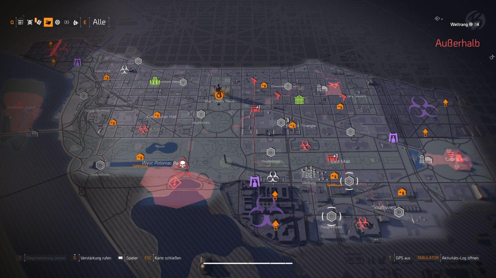Tom Clancy's The Division 2 - Ein schneller Blick auf die Karte von Washington D.C. im Endgame zeigt uns aktuelle Invasionen, Routen der Gegner und tägliche Missionen.