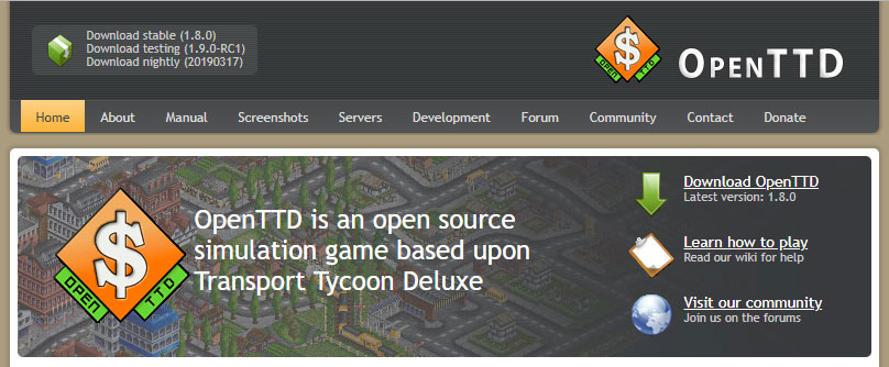 Qelle: openttd.org - Open Transport Tycoon Deluxe - Client Updates