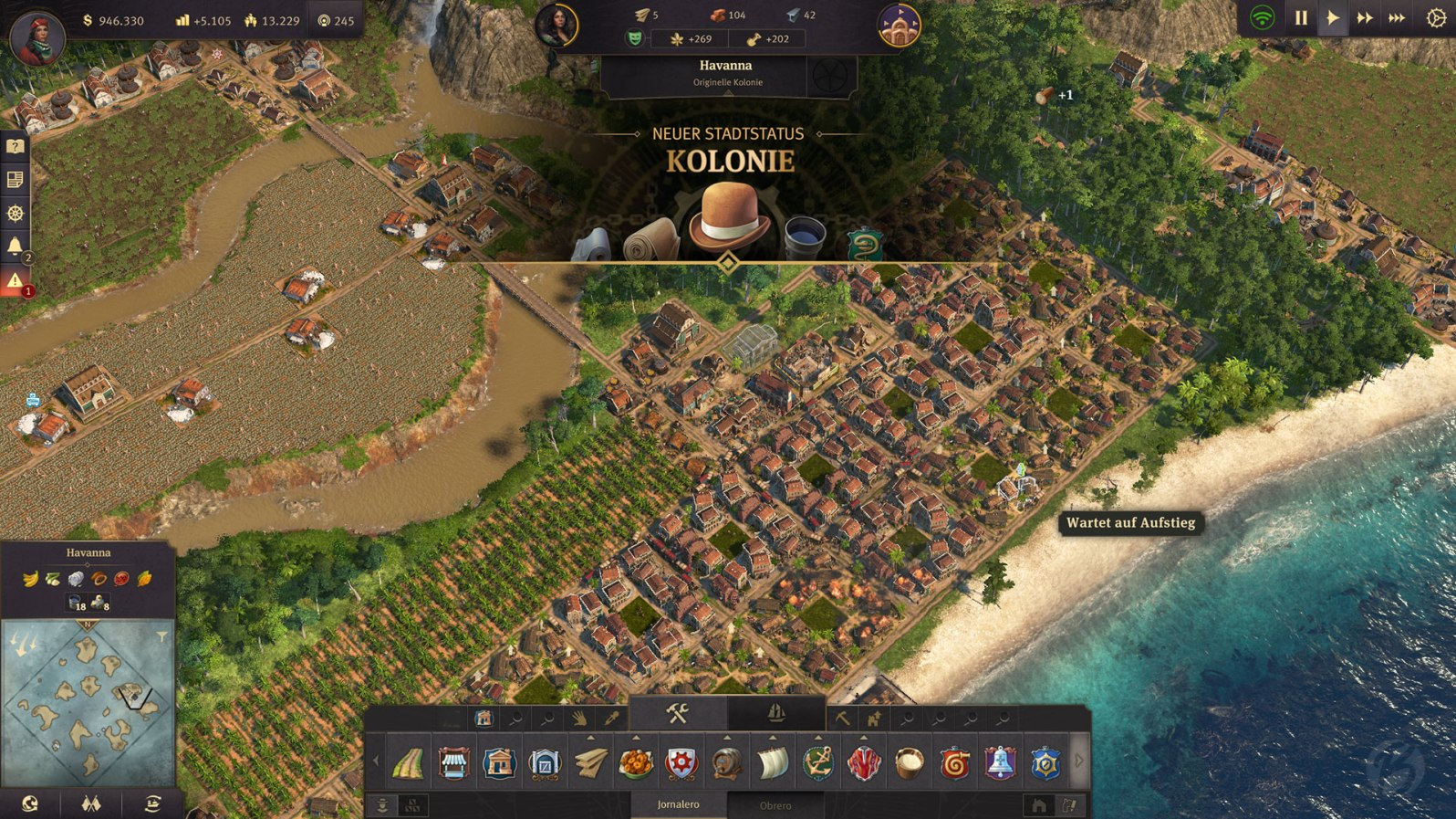 """Anno 1800 - Die Inseln der """"Neuen Welt"""", mit ihren Flussläufen, gestalten sich in Sachen Aufbau nicht gerade einfach."""