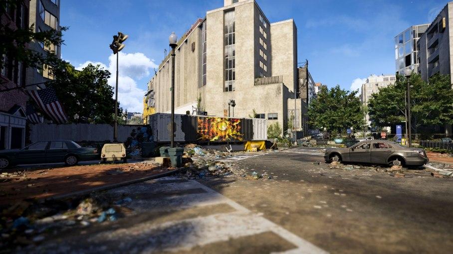 Tom Clancys The Division 2 - Container-Blockade auf einer Kreuzung.