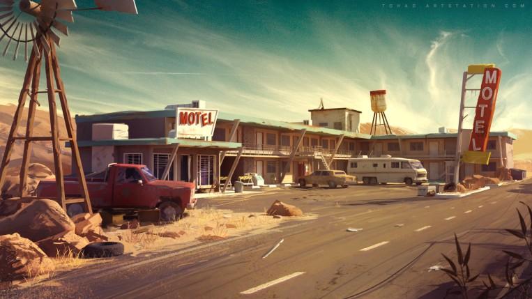 Quelle: tohad.artstation.com - Sylvain Sarrailh - motel environment concept