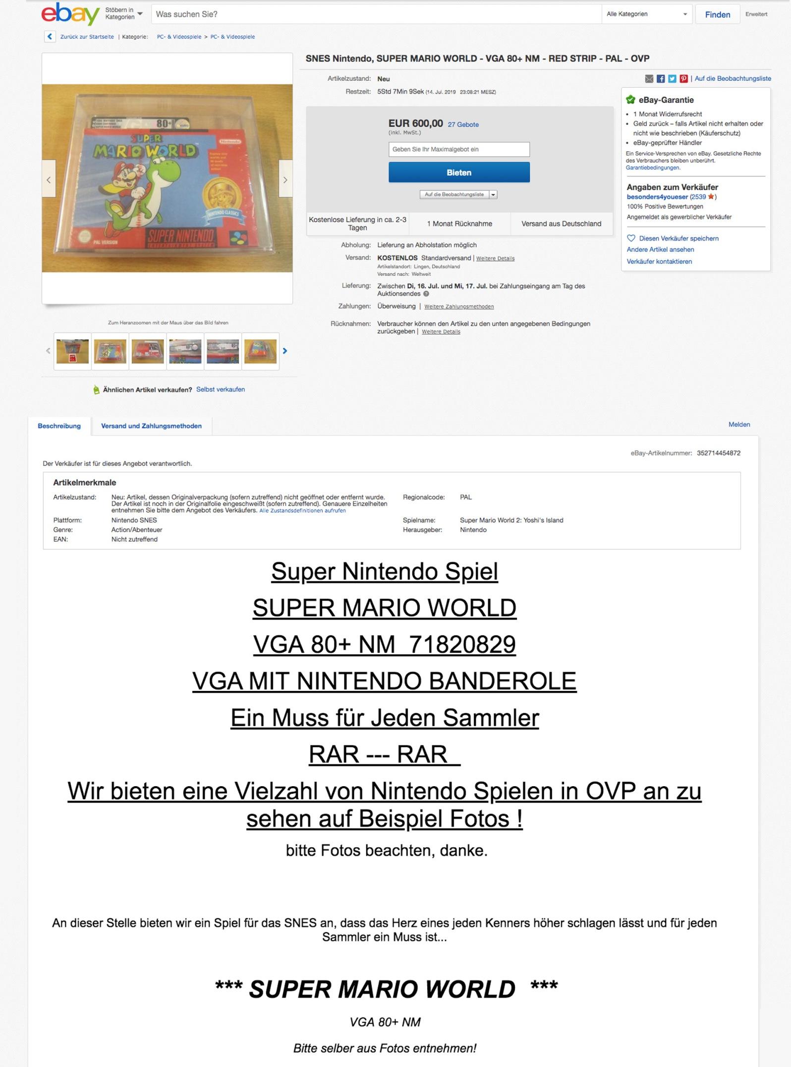 Quelle: Ebay - SNES Spiel - Super Mario World in Original Verpackung (eingeschweißt und VGA Zertifikat)