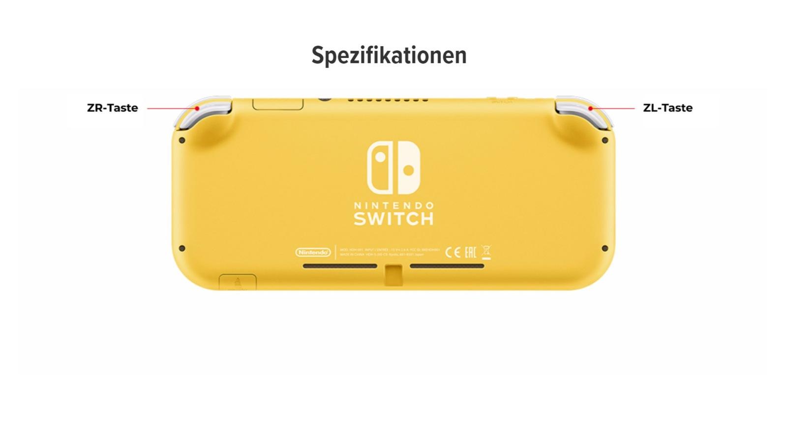 Quelle: Nintendo - Rückseite: Nintendo Switch Lite (gelbe Version)